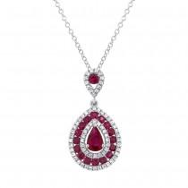 0.27ct Diamond & 1.03ct Ruby 14k White Gold Pendant Necklace