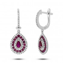 0.47ct Diamond & 1.15ct Ruby 14k White Gold Earrings