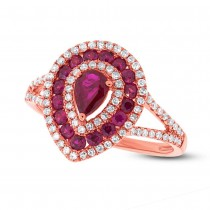 0.37ct Diamond & 0.98ct Ruby 14k Rose Gold Ring