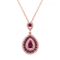 0.27ct Diamond & 1.03ct Ruby 14k Rose Gold Pendant Necklace