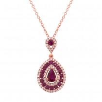 0.27ct Diamond & 1.03ct Ruby 14k Rose Gold Pendant Necklace
