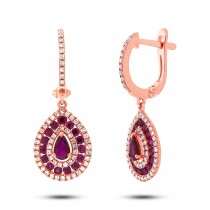 0.47ct Diamond & 1.15ct Ruby 14k Rose Gold Earrings
