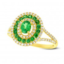 0.37ct Diamond & 0.82ct Green Garnet 14k Yellow Gold Ring