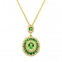 0.25ct Diamond & 0.92ct Green Garnet 14k Yellow Gold Pendant Necklace