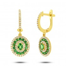 0.45ct Diamond & 0.95ct Green Garnet 14k Yellow Gold Earrings