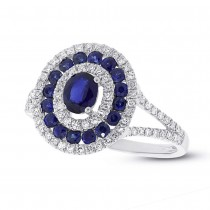 0.35ct Diamond & 0.89ct Blue Sapphire 14k White Gold Ring