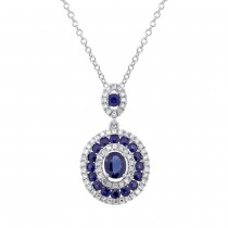 0.25ct Diamond & 1.03ct Blue Sapphire 14k White Gold Pendant Necklace