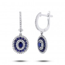 0.45ct Diamond & 1.14ct Blue Sapphire 14k White Gold Earrings
