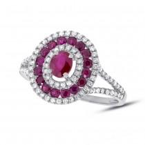 0.35ct Diamond & 1.00ct Ruby 14k White Gold Ring