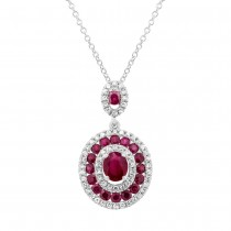 0.25ct Diamond & 1.06ct Ruby 14k White Gold Pendant Necklace