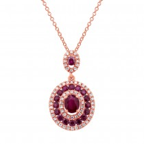 0.25ct Diamond & 1.06ct Ruby 14k Rose Gold Pendant Necklace