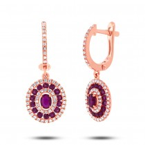 0.45ct Diamond & 1.03ct Ruby 14k Rose Gold Earrings