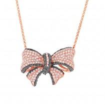 1.69ct 14k Rose Gold Black & White Diamond Ribbon Bow Necklace