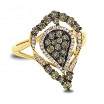 0.93ct 14k Yellow Gold White & Champagne Diamond Ring