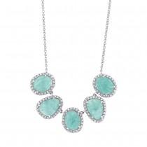 0.37ct Diamond & 4.50ct Amazonite 14k White Gold Necklace