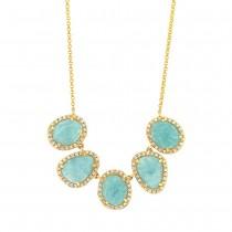 0.37ct Diamond & 4.50ct Amazonite 14k Yellow Gold Necklace