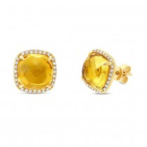 0.17ct Diamond & 5.27ct Citrine 14k Yellow Gold Stud Earrings
