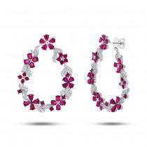 1.19ct Diamond & 10.10ct Ruby 14k White Gold Flower Earrings