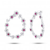 2.24ct Diamond & 1.10ct Ruby 14k White Gold Flower Earrings