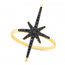 0.26ct 14k Yellow Gold Black Diamond North Star Ring