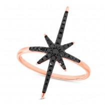 0.26ct 14k Rose Gold Black Diamond North Star Ring