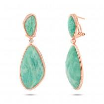 0.39ct Diamond & 57.07ct Amazonite 14k Rose Gold Earrings
