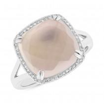 0.11ct Diamond & 7.37ct Rose Quartz 14k White Gold Ring