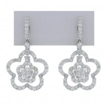 1.40ct 18k White Gold Diamond Flower Earrings