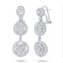 3.40ct 18k White Gold Diamond Earrings