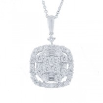 1.33ct 18k White Gold Diamond Pendant Necklace