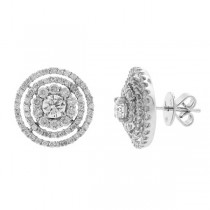 0.65ct Round Brilliant Center And 1.45ct Side 18k White Gold Diamond Earrings