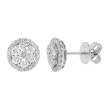 1.17ct 18k White Gold Diamond Cluster Stud Earrings