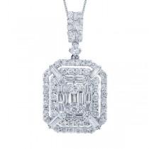 1.42ct 18k White Gold Diamond Pendant Necklace