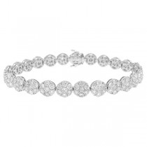 9.92ct 18k White Gold Diamond Cluster Lady's Bracelet