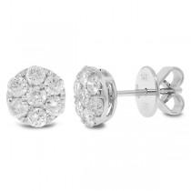 0.86ct 14k White Gold Diamond Cluster Stud Earrings