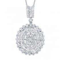 2.39ct 18k White Gold Diamond Pendant Necklace