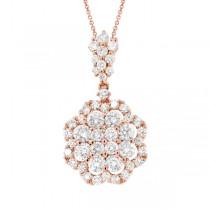1.54ct 18k Rose Gold Diamond Pendant Necklace