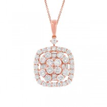 1.33ct 18k Rose Gold Diamond Pendant Necklace