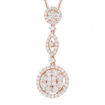 1.35ct 18k Rose Gold Diamond Pendant Necklace