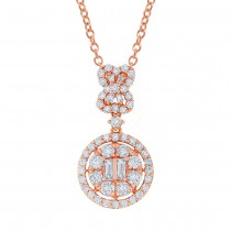 1.24ct 18k Rose Gold Diamond Pendant Necklace