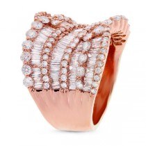 3.62ct 18k Rose Gold Diamond Lady's Baguette Ring