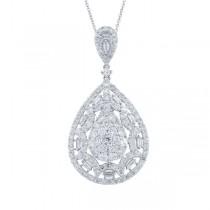 3.34ct 18k White Gold Diamond Pendant Necklace