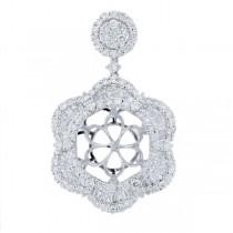 2.71ct 18k White Gold Diamond Semi-mount Pendant Necklace