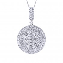5.04ct 18k White Gold Diamond Pave Pendant Necklace