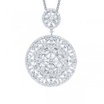 4.44ct 18k White Gold Diamond Pendant Necklace