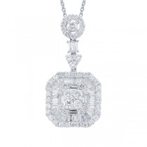 2.16ct 18k White Gold Diamond Pendant Necklace