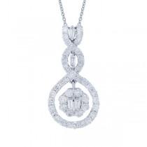 0.91ct 18k White Gold Diamond Pendant Necklace
