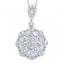 1.05ct 18k White Gold Diamond Pendant Necklace