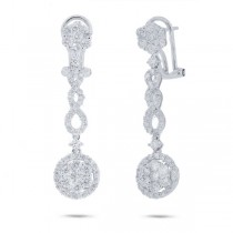 2.09ct 18k White Gold Diamond Earrings