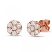 1.00ct 18k Rose Gold Diamond Cluster Stud Earrings